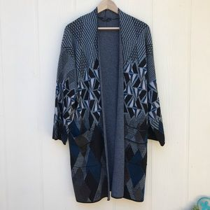 Vertigo Open Duster Geometric Gray Blue Large